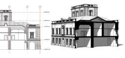 Progetto IDEHA. Modello Informativo del caso pilota del Real Sito di Carditello, stralcio di prospetto e sezione assonometrica