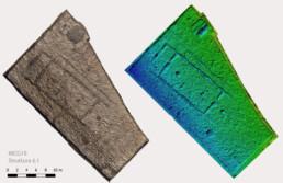 Fotopiano e modello tridimensionale della superficie dello scavo del sito di Monte Croce Guardia (tarda età del Bronzo), Arcevia, Italia