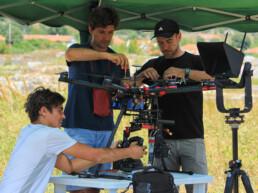 Team di ricerca in preparazione del drone per le attività di rilevamento fotogrammetrico aereo. Montenegro, 2016