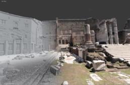 Ricostruzione virtuale del Foro di Augusto, dettaglio del tempio