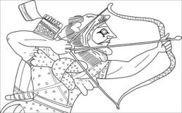 Eracle tende l'arco per uccidere Gerione: dettaglio di un vaso attico a figure nere