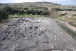 Althiburos (El Kef, Tunisia): l'area del santuario-tofet in corso di scavo vista da Nord. Sullo sfondo i resti dell'insediamento romano
