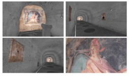 Rilievo laser scanner del Mitreo integrato a fotomodellazione. Modello tridimensionale della cisterna con la proiezione ad alta risoluzione degli affreschi